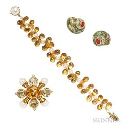 Three Gem-set Jewelry Items