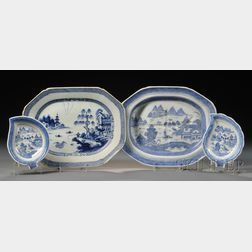 Four Blue and White Chinese Export Porcelain Table Items