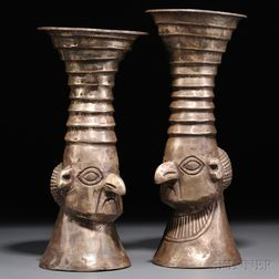Pair of Royal Inca Silver Keros
