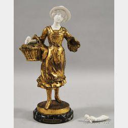 Marchande de Fleurs Gilt-bronze and Parian Figure