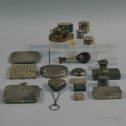 Group of Personal and Miniature Silver Objects and Accessories