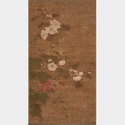 Hanging Scroll Depicting Cotton Roses