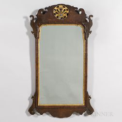 Mahogany Veneer and Parcel-gilt Scroll-frame Mirror