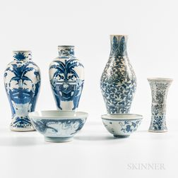 Six Blue and White Export Porcelain Table Items