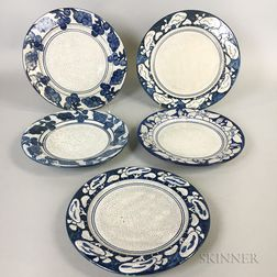 Five Dedham Pottery Plates