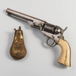 Colt Model 1849 Pocket Revolver and Powder Flask Identified to Wenceslao Loaiza