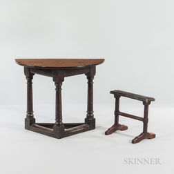 Oak Credence Table and a Kneeler