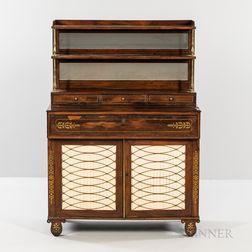 William IV Brass-inlaid Rosewood Veneer Mirrored Cabinet