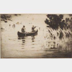 Levon West (American, 1900-1968)    Canoe Gunning.