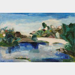 Werner Drewes (American, 1899-1985)      River Landscape