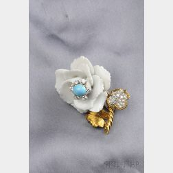18kt Gold, Porcelain, Diamond and Turquoise Clip Brooch, David Webb
