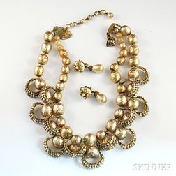 Miriam Haskell Scalloped Faux Baroque Pearl and Rhinestone Necklace
