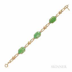 Art Deco 14kt Gold and Jade Bracelet