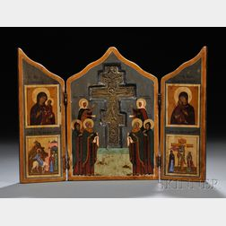 Russian Folk Triptych of the Crucifixion