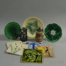 Ten Decorative Majolica and Other Ceramic Items