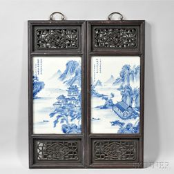 Two Blue and White Porcelain Plaques