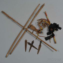 Three Plains Arrow Shafts, Four Metal Arrow Heads, and a Quill-wrapped Wood Item