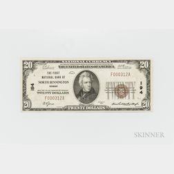1929 The First National Bank of North Bennington Type 1 $20 Note