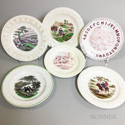 Six Transfer-decorated Ceramic Child's Alphabet Plates