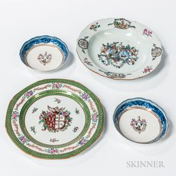 Four Armorial Export Porcelain Table Items