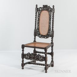 Caned Carved Walnut High-back Chair
