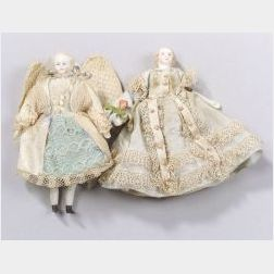 Two Small Blonde Parian-type Shoulder Head Dolls