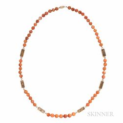 14kt Gold and Hardstone Bead Necklace