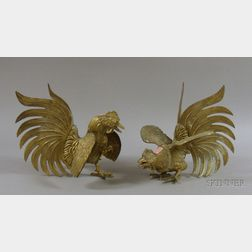Pair of Brass Fighting Cocks Table Ornaments