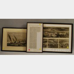 Lot of Three Framed Boat-themed Pages from Harper's Weekly