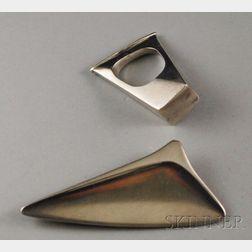 Two Georg Jensen Modernist Sterling Silver Jewelry Items