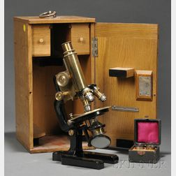 Black-painted and Lacquered Brass Compound Monocular Microscope