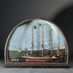 Fine Cased Carved and Painted Model of the Naval Vessel LAFAYETTE