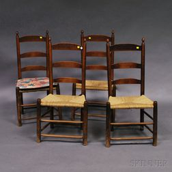 Assembled Set of Four Ladder-back Chairs