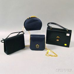 Four Black and Blue Leather and Silk Lady's Evening Bags and Purses