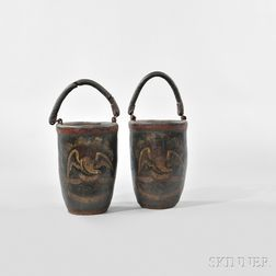 Pair of Paint-decorated Fire Buckets