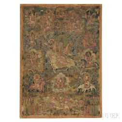Thangka Depicting a Warrior God in Armor