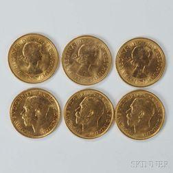 Six British Gold Sovereigns