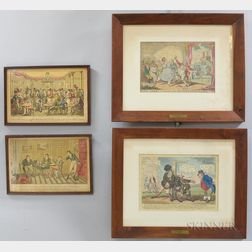 Group of Cruikshank-style Sketches and Prints.     Estimate $300-500