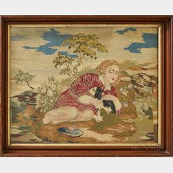 Three Framed English Needlepoint Pictures