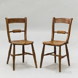 Pair of English Yewwood Side Chairs