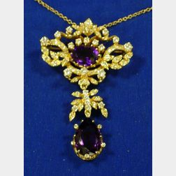 14kt Gold, Diamond, and Amethyst Pendant with Chain.