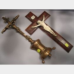 Colonial Rosewood-mounted Carved Ivory Crucifix and a Copper Plated Metal Crucifix.
