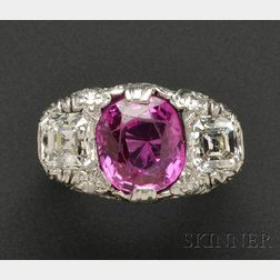 Art Deco Platinum, Ruby, and Diamond Three-Stone Ring