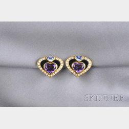 18kt Gold, Gem-set and Diamond Earclips, Marina B., France