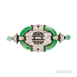 Art Deco Platinum, Jade, and Diamond Brooch