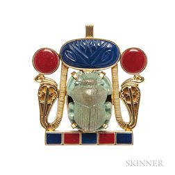 Gold, Faience Scarab, and Molded Glass Pendant/Brooch
