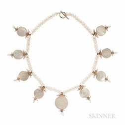 14kt Gold, Freshwater Pearl, and Mother-of-pearl Necklace