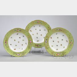 Set of Nine Dresden Gilt, Green-banded, and Hand-painted Floral-decorated Porcelain   Soup Plates