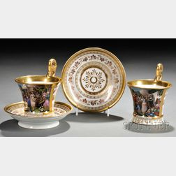 Pair of Hand-painted Porcelain Cups and Saucers