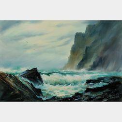 James A. Camlin (American, 1918-1982)      Crashing Surf / A Bar Harbor, Maine Landscape
